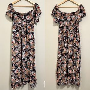 Smocked floral maxi maternity dress baby shower